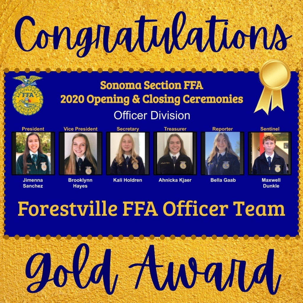 Forestville FFA Officer Team Wins Gold
