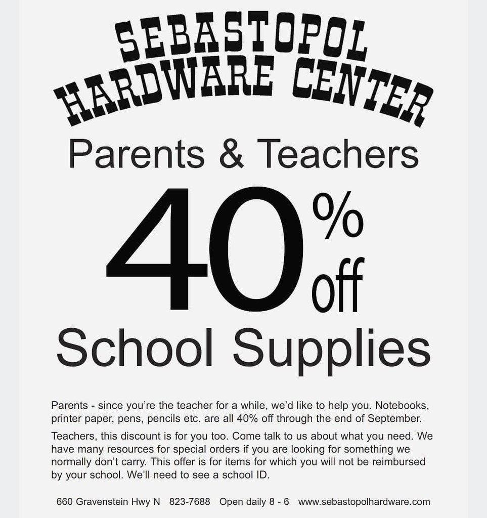 40% off at Sebastopol Hardware